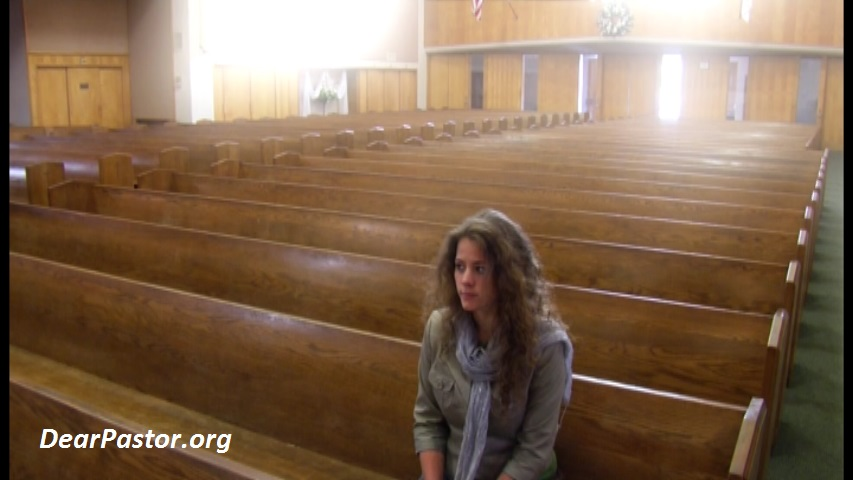 Abortion: woman in church pew